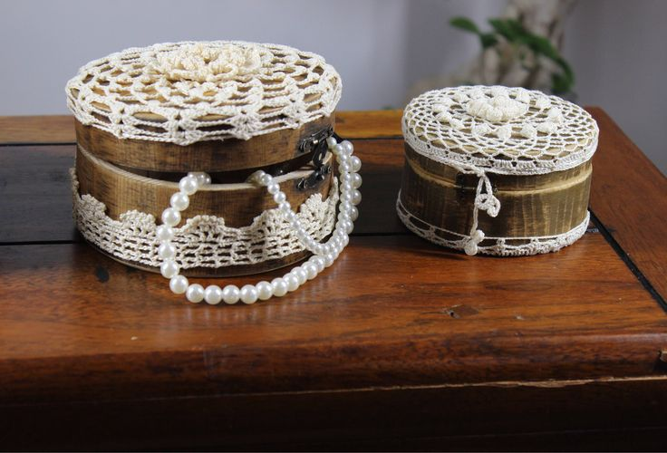 Excited to share the latest addition to my #etsy shop: Set of 3 jewellery boxes - wood jewellery boxes - crocheted jewellery boxes #accessories #handmade #gift #homedecoration #homedecor