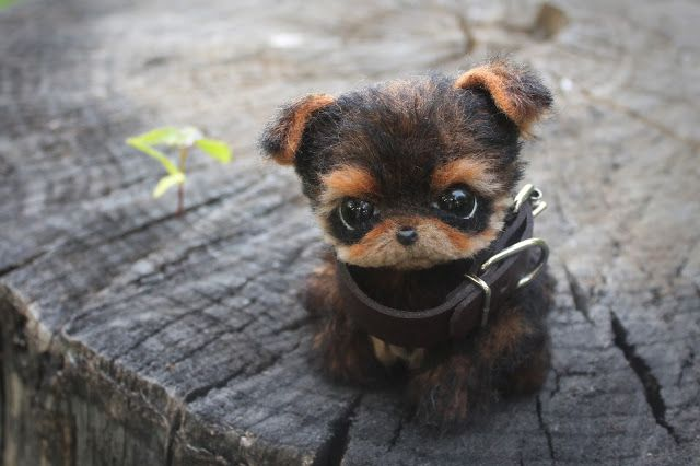 "Handemade sewen toy ""Yorkshire Terrier puppy"". Height: 9 cm (sitting) Materials: alpaca, wool, glass, pins."