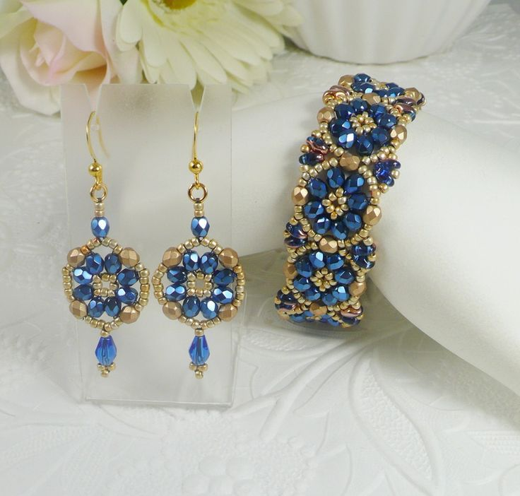 Woven Bracelet and Earrings Set Brilliant Blue and by IndulgedGirl