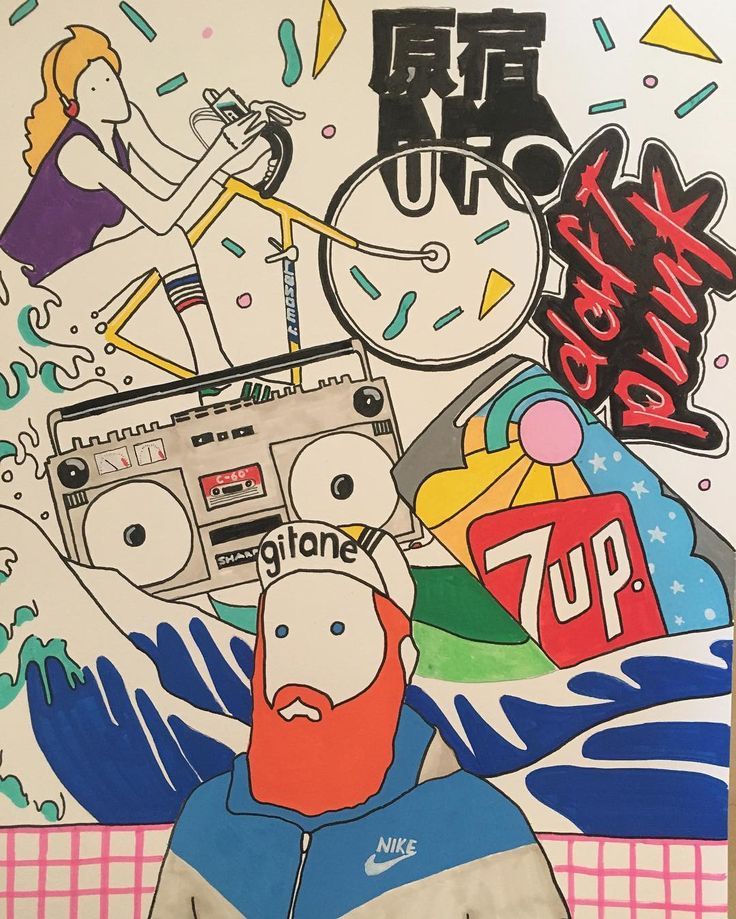 M Y - W O R L D #illustration #drawing #posca #ポスカ #colors #abstract #80s #pop #popart #music #stereo #bicycle #daftpunk #原宿 #ufo #selfportrait #nike #gitane #culture #hokusai #japan #boombox  #7upvintage #alessiovitelli #2016