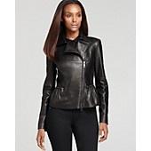 Burberry London Glenarm Lightweight Leather Jacket with Zippers