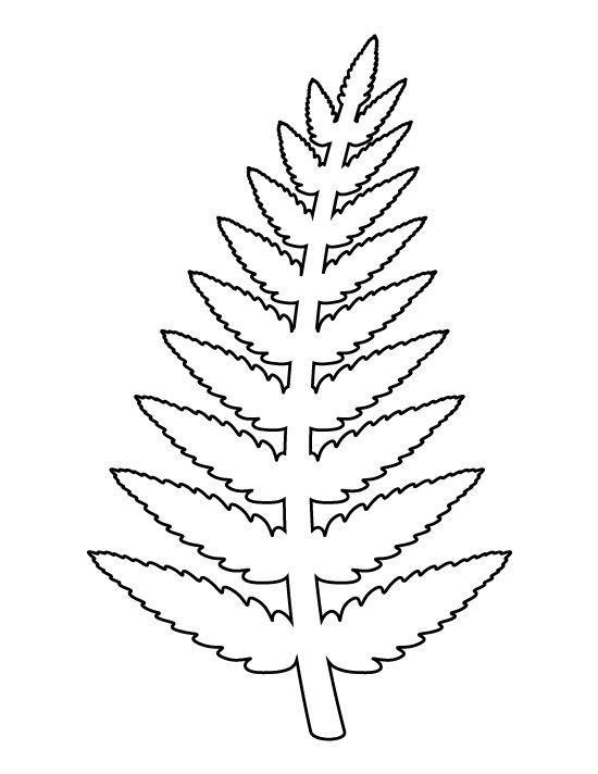 Fern pattern Use the printable outline for crafts, creating - leaf template for writing