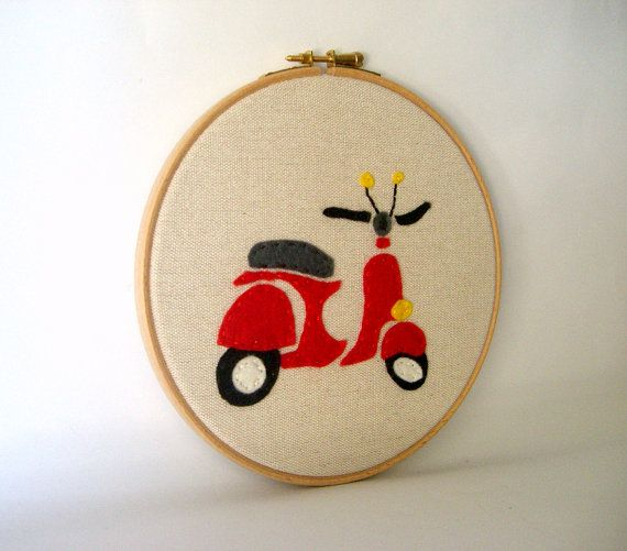 Red vespa hoop art  hand embroidery decoration by HoopsyDaisies, $29.00
