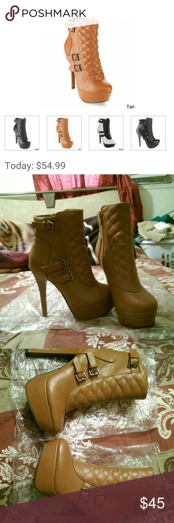 C-label tan ankle booties MATERIAL: synthetic leather HEIGHT: ankle TOE SHAPE: almond HEEL HEIGHT:5 in HEEL PLATFORM: 1.5 in NO BOX  ALL RESONABLE OFFERS ARE WELCOME ;) c label Shoes Ankle Boots & Booties
