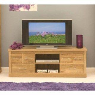 Baumhaus Mobel Solid Oak 6 Drawer Widescreen TV Cabinet