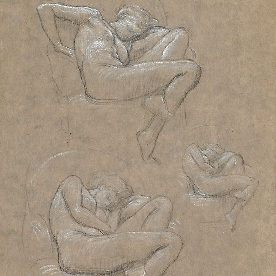 Sir Frederic Leighton, P.R.A.  FIGURE STUDIES FOR FLAMING JUNE