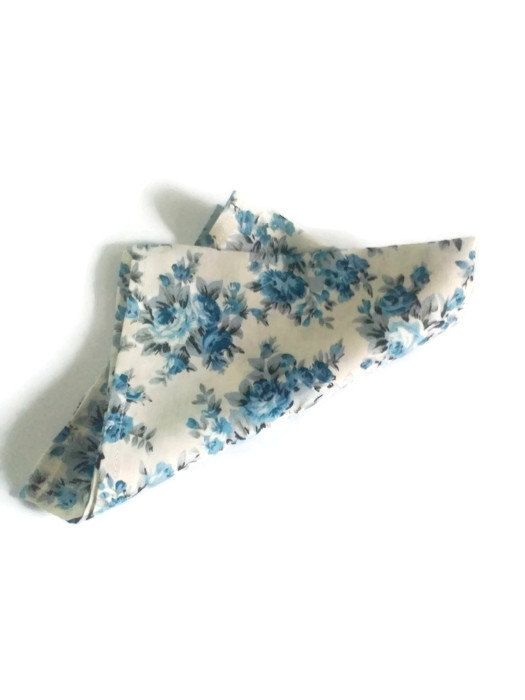 ivory pocket square blue blossom ivory bow tie men cuff links Gift for husband Wedding bow tie Blue floral tie Handkerchief for groom okleri