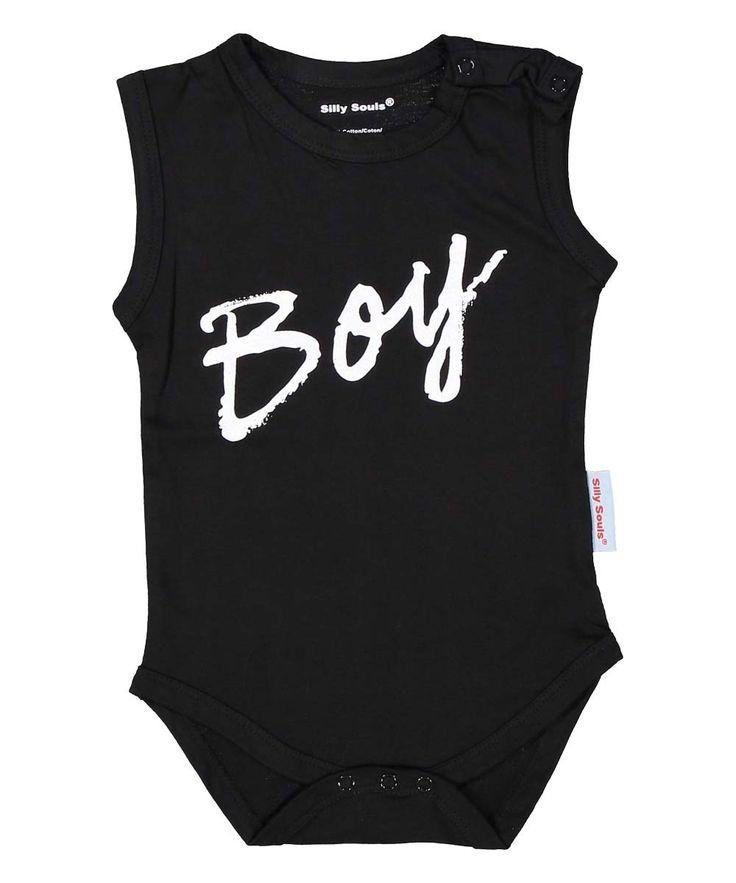 BOY, baby boy black onesie - Silly Souls