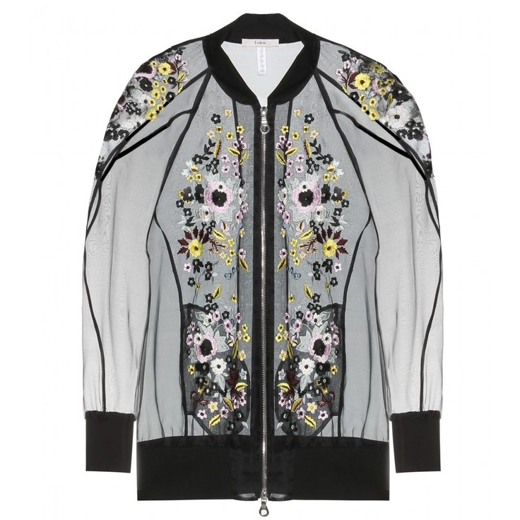 Erdem  Dani Embroidered Silk-Blend Organza Bomber Jacket | $2350