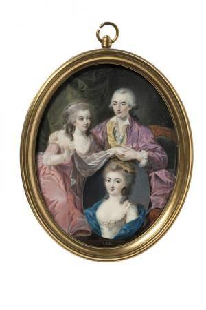 Portrait d'homme et de femme tenant un tableau   Centre de documentation des musées - Les Arts Décoratifs