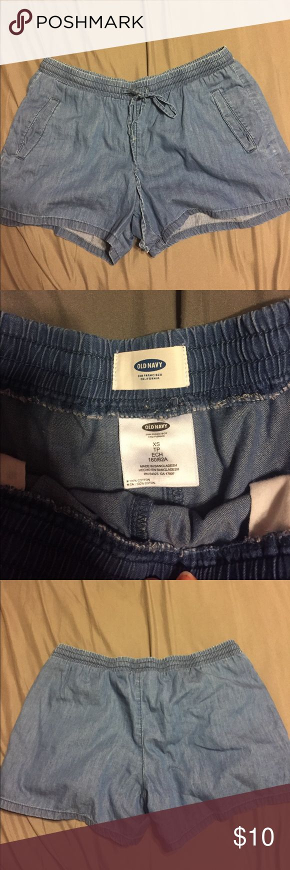 Old navy shorts Denim old navy shorts with front pockets. Worn only once or twice! Like new. No stains or rips or tears. Smoke free home Old Navy Shorts