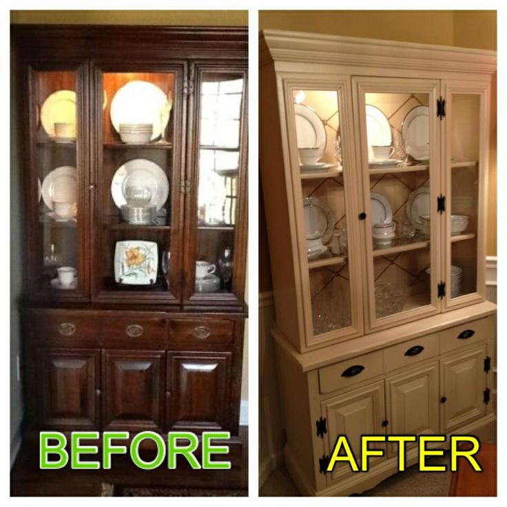 DIY One Day China Cabinet Makeover. Cabinet Painted With