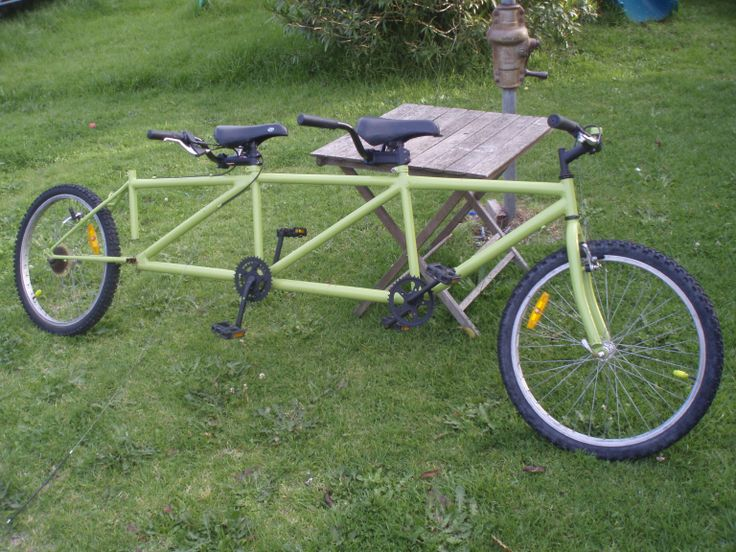 """Trandem"". The three seat tandem bike. In the final stages of construction."