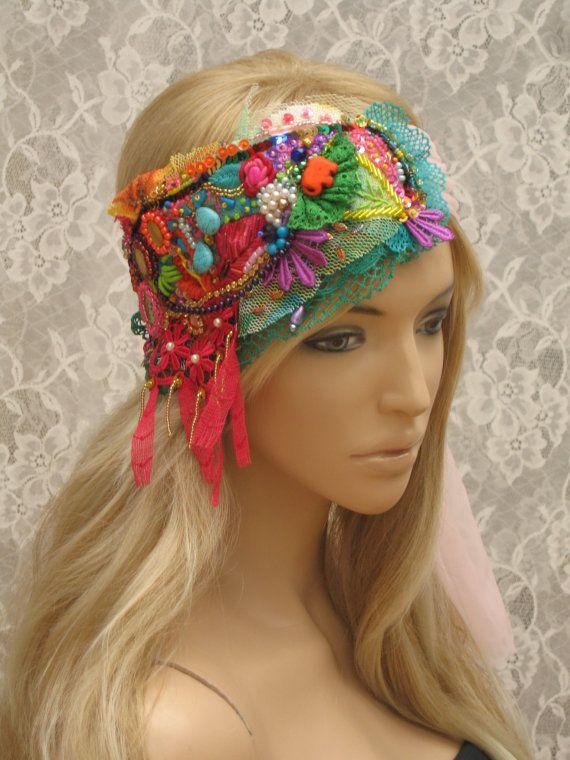 Colorful headpiece, hand embroidered, beaded headband, stylish headband, boho headband, bohemian, gypsy style,Hair Jewelry, Hair Accessories