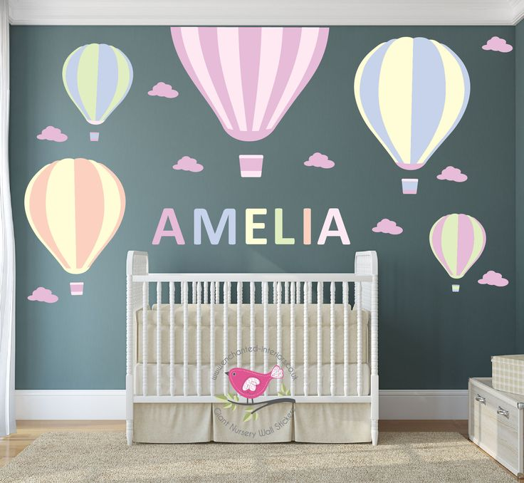 Enchanted interiors hot air balloon nursery wall stickers made from premium self adhesive fabric