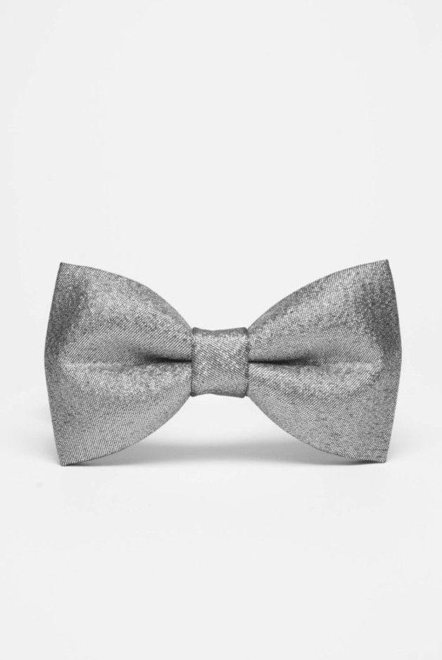 Srebrna muszka męska na karnawał / Silver bow tie / DaWanda