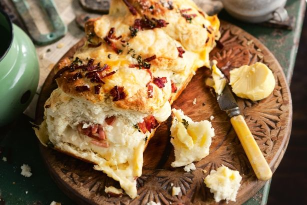Pull-apart bacon and cheese damper - Give bush bread a modern makeover with bacon, herbs and Italian cheeses.