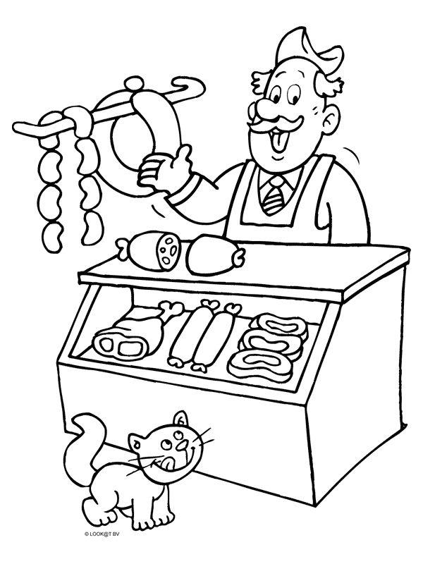 Kleurplaat Slager verkoopt vlees - Kleurplaten.nl