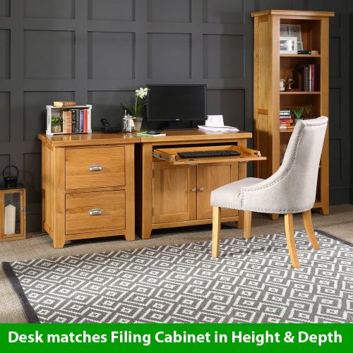 Cheshire Oak Hideaway Home Office Computer Desk (With