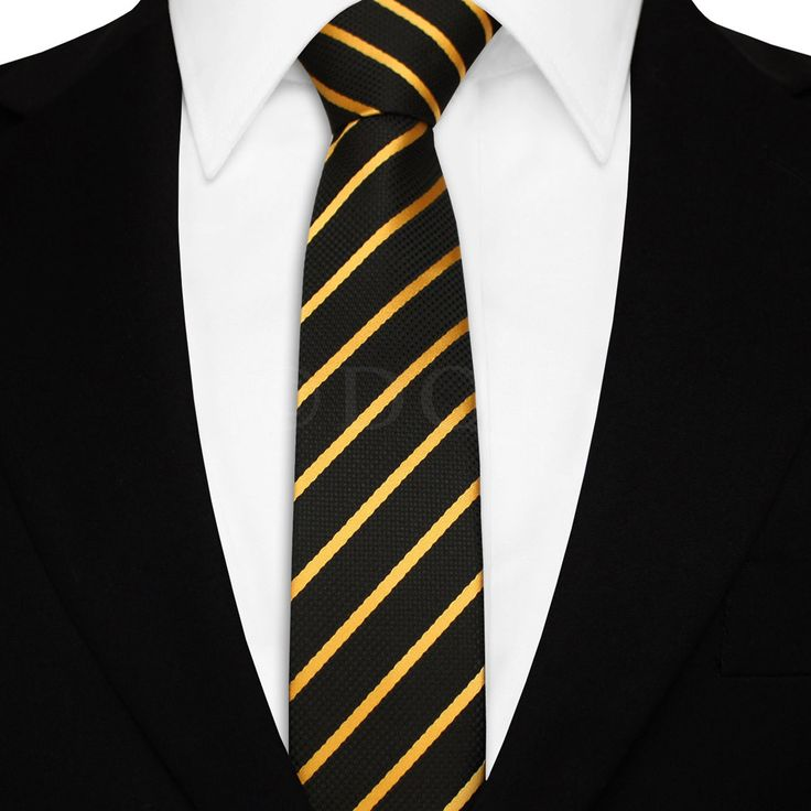 Each tie is made of % woven microfiber for a sturdy tie that is sure to outlast the seasons and make for easy maintenance. Featured in black and gold stripes, we invite you to fall in love with this classic.