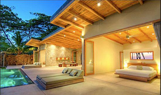 Fabulous open bedroom design overlooking patio modern for Modern day bedroom designs