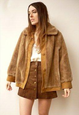 Vintage Mink Brown Faux Fur Winter Coat Jacket Size S/M