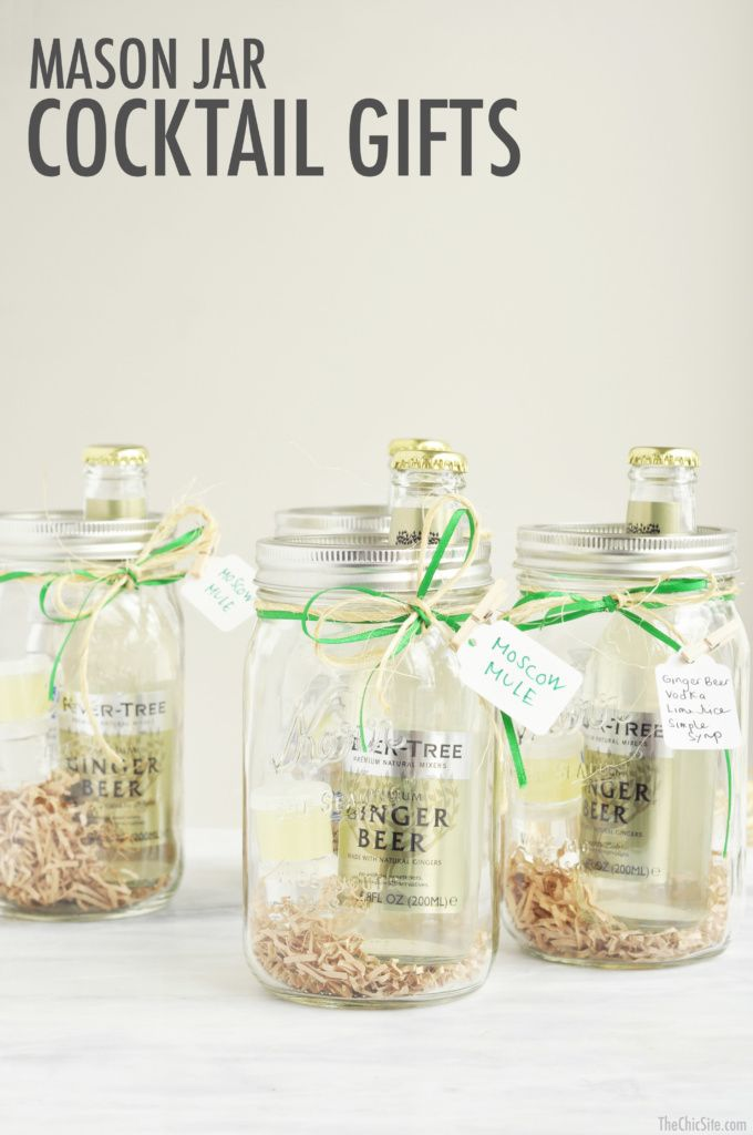 Neat idea. Mason Jar Cocktail Gifts. These are set up for Moscow Mules.