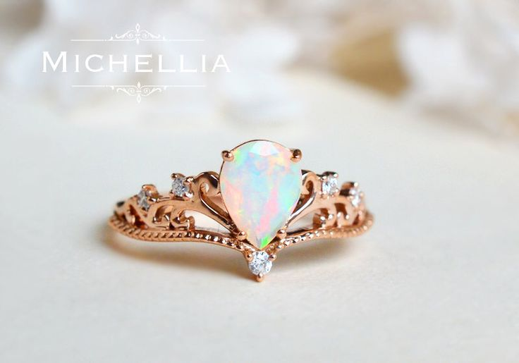 Vintage Pear Opal Engagement Ring, 14K 18K Solid Gold Ethiopian Fire Opal Teardrop Ring, Art Deco, Unique Victorian Pear Engagement Ring by MichelliaDesigns on Etsy https://www.etsy.com/listing/463310741/vintage-pear-opal-engagement-ring-14k