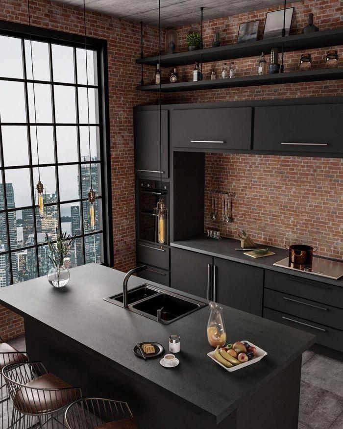 Comment Decorer Une Petite Cuisine Ouverte De Style Industriel Meubles De Cuisine En Gris Anthra Interior Design Kitchen Kitchen Style Kitchen Design Pictures