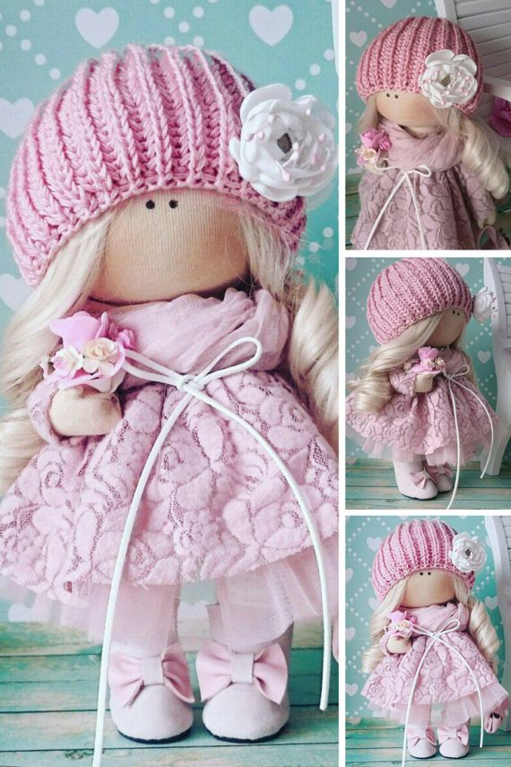 Handmade doll Pink doll Cloth doll Muñecas by AnnKirillartPlace