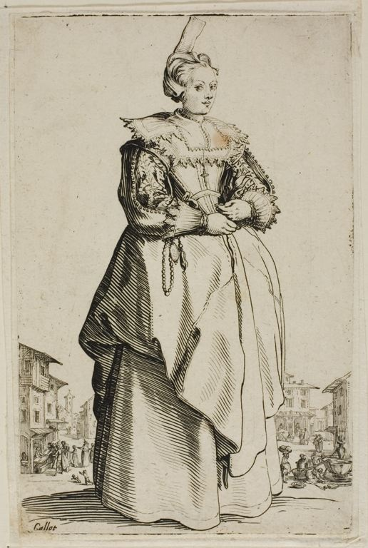 Jacques Callot French, 1592-1635, The Lady with the Small Raised Cap, plate one from La Noblesse