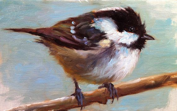 Coal Tit  Bird Painting  Open Edition Print by FinchArts on Etsy, $20.00