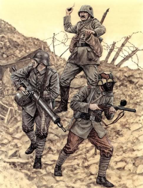 Trench raiders armed with grenades, MP18 and Maxim gun.