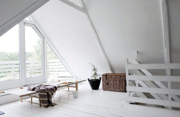 Scandinavian Retreat: Cottage in Denmark: Big Window, Farms Houses, White Spaces, Country Home, Vintage Houses, White Rooms, Barns Loft, Home Decor, Houses Inspiration