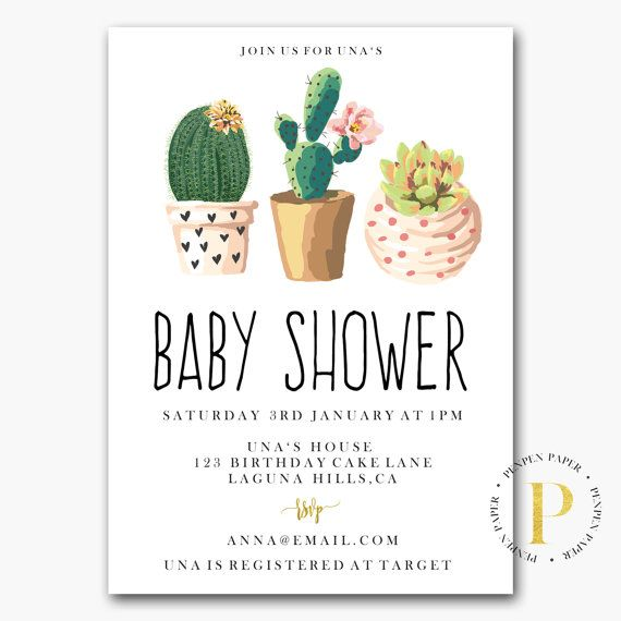 cactus baby shower invite printable baby shower invitation customised invite country western