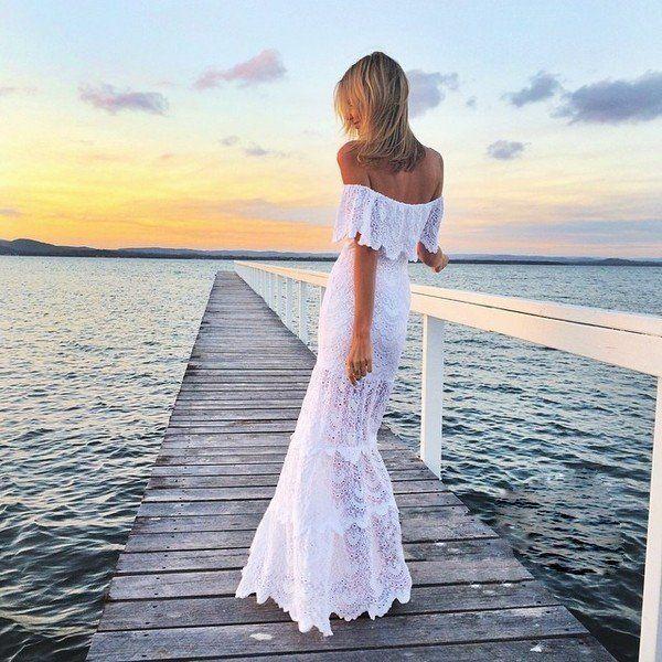 Off Shoulder Lace Mermaid Long Beach Dress - Meet Yours Fashion - 1