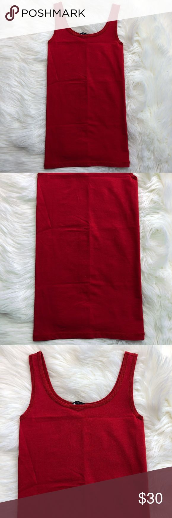 """THEORY Red Cami Tank Top One Size sleeveless Please see photos for exact condition SHIPS FAST Feel free to ask questions Measurements are approximate Please compare measurements to your own favorite clothing to help avoid having a return  chest 11"""" length 23.75""""  Thank you!  L19 Theory Tops Camisoles"""