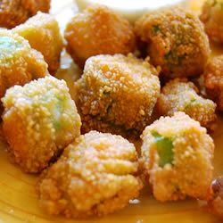 Fried okra- Doesn't get any more southern than that. If I can't get the okra fresh, I buy frozen whole okra, cut it up, bread it, and cook it in deep fryer. It's almost as good as fresh!