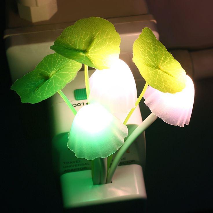 Ledきのこナイトライトus euプラグロマンチックカラフルな電球ベッドサイドled atomsphereランプホーム照明装飾インテリアギフト