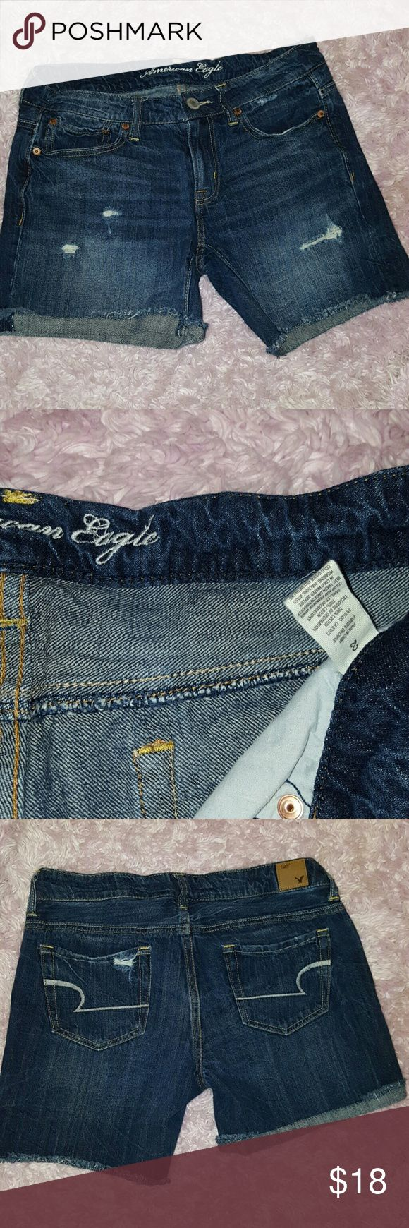 American Eagle Jeans Shorts Wear Cuffed or Down Size 2 1~ 100% cotton ~  Semi Destroyed look. Perfect pair of shorts, only wore once for a few hours. American Eagle Outfitters Shorts Jean Shorts