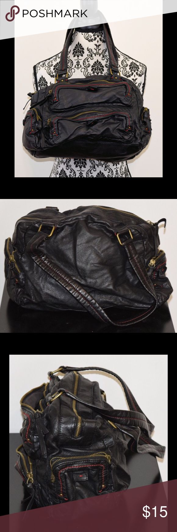 """Converse Black Faux Leather Purse Stylish with storage! Soft faux leather slouchy black handbag with zippered pockets. Zippered inside pocket, with roomy zippered pockets on front and sides. Red stitching. Like new. Approx 12"""" L, 9"""" H Strap drop approx. 12"""". Converse Bags Satchels"""