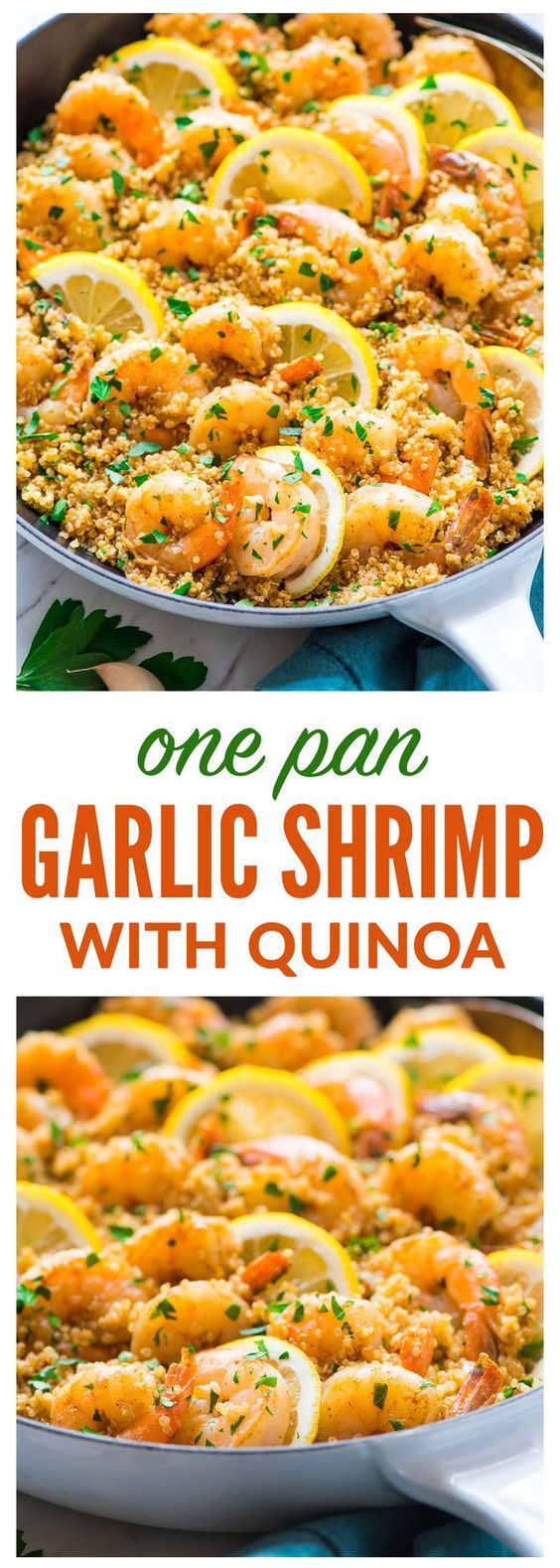 Garlic Shrimp with Quinoa — Easy, quick, and delicious! Healthy recipe with fresh lemon and garlic. Not too spicy with lots of flavor! {gluten free and dairy free} Recipe at wellplated.com | @wellplated