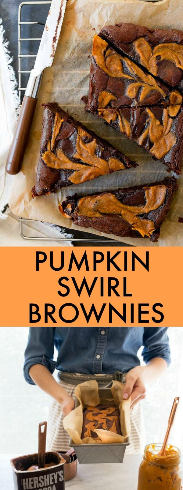 Pumpkin brownies for two! A small batch of brownies for 2 or 3 people with pumpkin swirled in! Brownies made in a loaf pan to serve two.