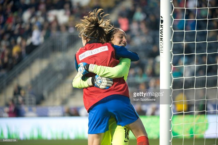 French Keeper Sarah Bouhaddi (16) hugs French Midfielder Élise Bussaglia (15) after France scored a go-ahead goal in stoppage time of the second half during the game between the England Women's National Soccer Team and the France National Women's Soccer Team on March 01, 2017 at Talen Energy Stadium in Chester, PA.