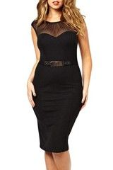 Sidefeel Women's Plus size Pencil Dress Sleeveless Belted with Ruched Mesh XX-Large Black 2