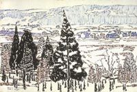 Village in the Valley, Black Cedars (From the Painting House II) David Milne