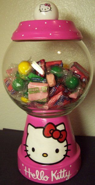 Hello Kitty Candy Jar handmade hand painted by punkimunki on Etsy, $25.00