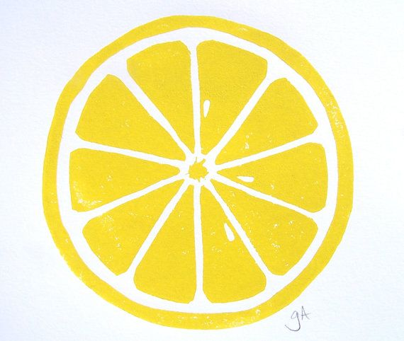 PRINT - Lemon  YELLOW LINOCUT citrus 8x10 letterpress print for the kitchen