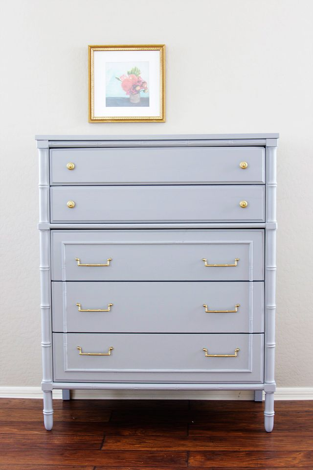 Dresser painted in Timber Wolf Benjamin Moore. 16 of the best furniture paint colors. #colorfurniture grey chest