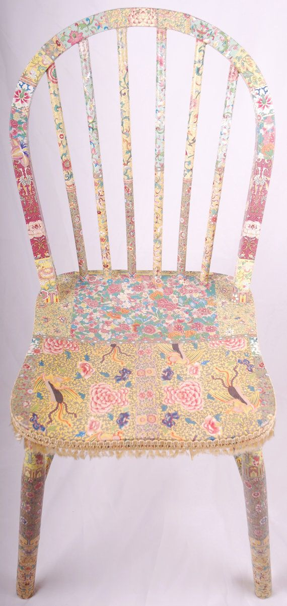 OOAK Wooden decoupage chair Olivia by kitschemporium on Etsy